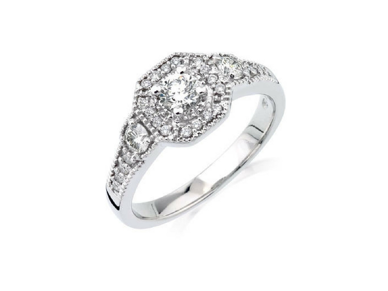 Halo Style Diamond Engagement Ring 14K White Gold by Camelot
