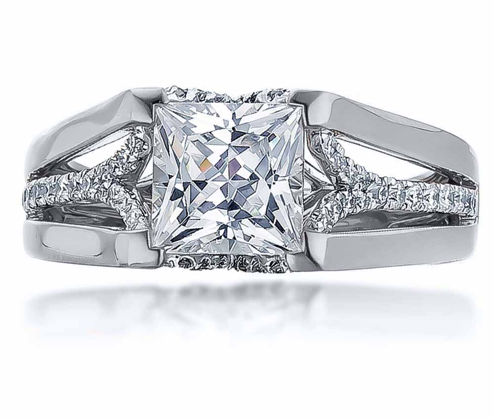 Frederic Sage Princess Cut Semi-Mount .27ctw 14K White Gold by Frederic Sage