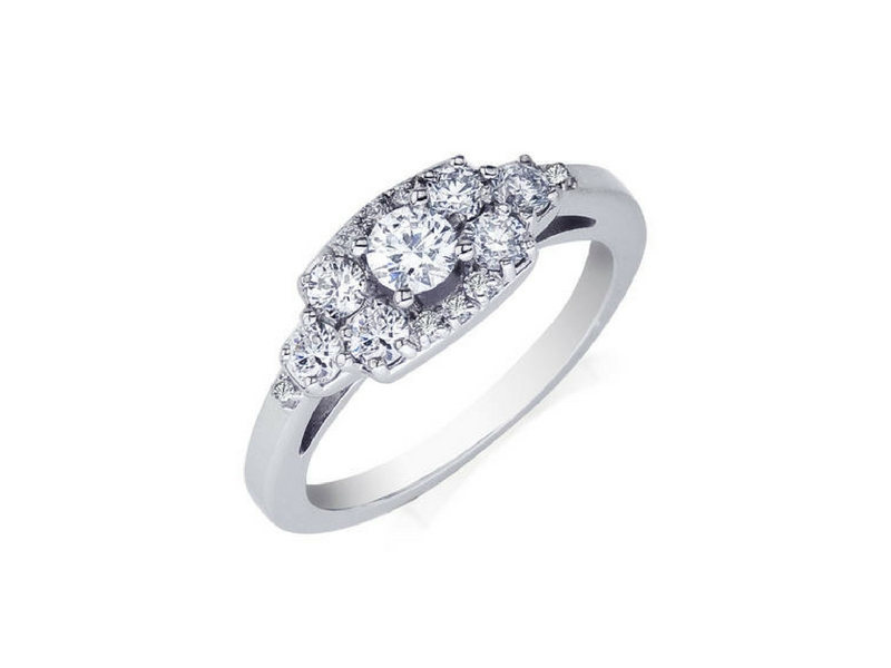 Pave Diamond Engagement Ring  .50ctw 14K White Gold by Camelot