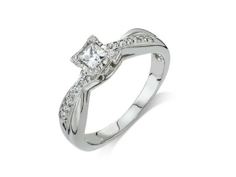 10K Princess Cut Diamond Engagement Ring by Camelot