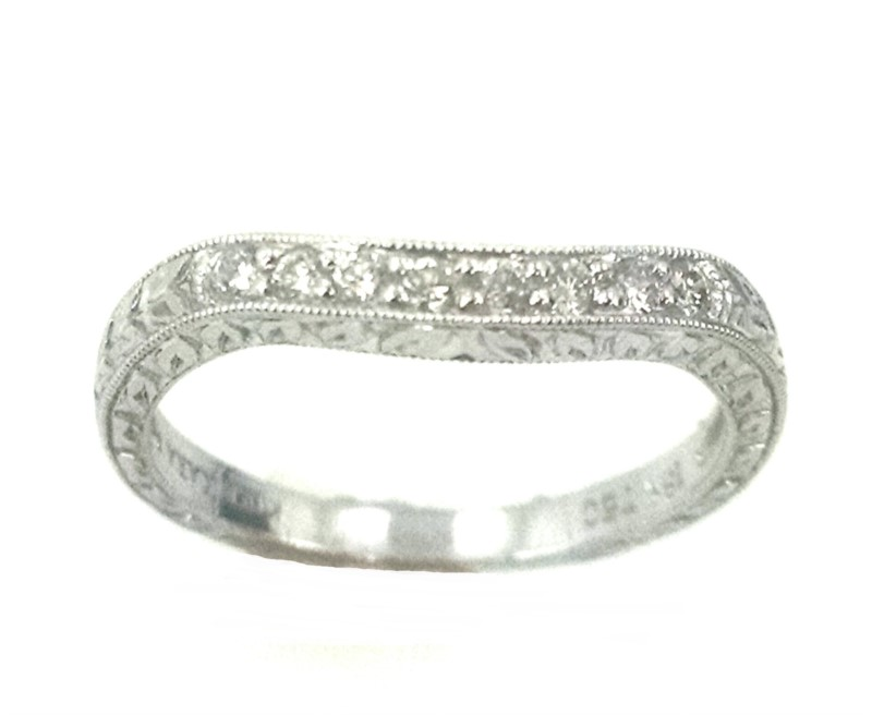 Kirk Kara Hand Engraved Diamond Band .16ctw 18K White Gold by Kirk Kara
