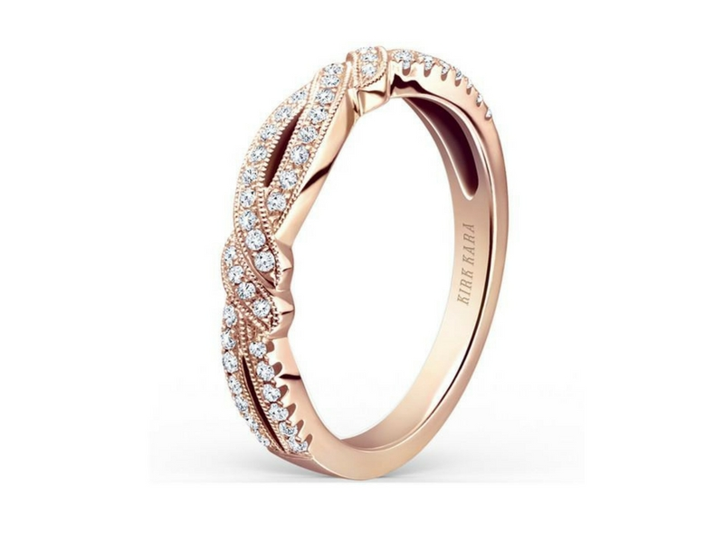 Kirk Kara Twisted Diamond Band 14K Rose Gold by Kirk Kara