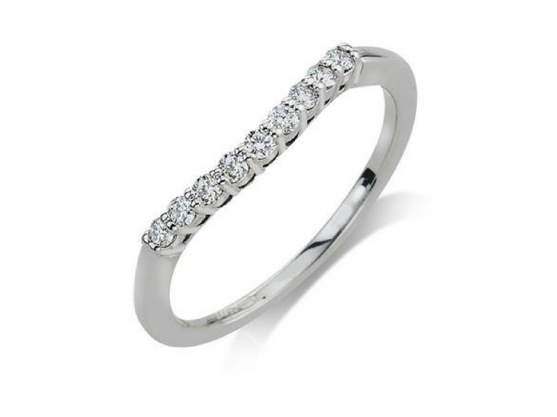 14K Gold .18ctw Curved Diamond Band by Camelot