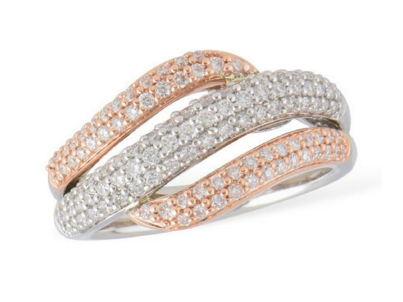14K Rose & White Gold .75ct Diamond Wave Band by Allison Kaufman