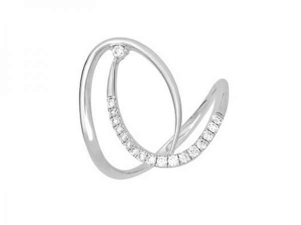 14K White Gold .16ctw Diamond Swirl Ring by Chatham