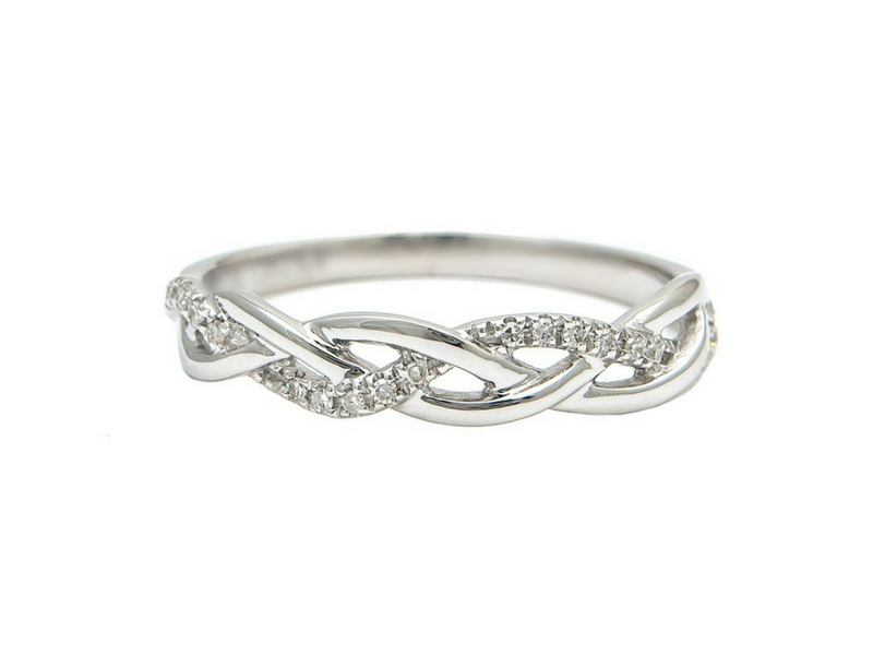 470827af9 14K Gold Diamond Braid Ring