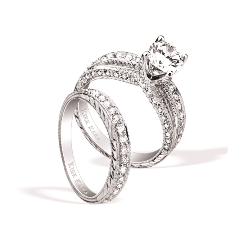 Kirk Kara Diamond Pave Semi-Mount Engagement Ring .64ctw 18K White Gold by Kirk Kara