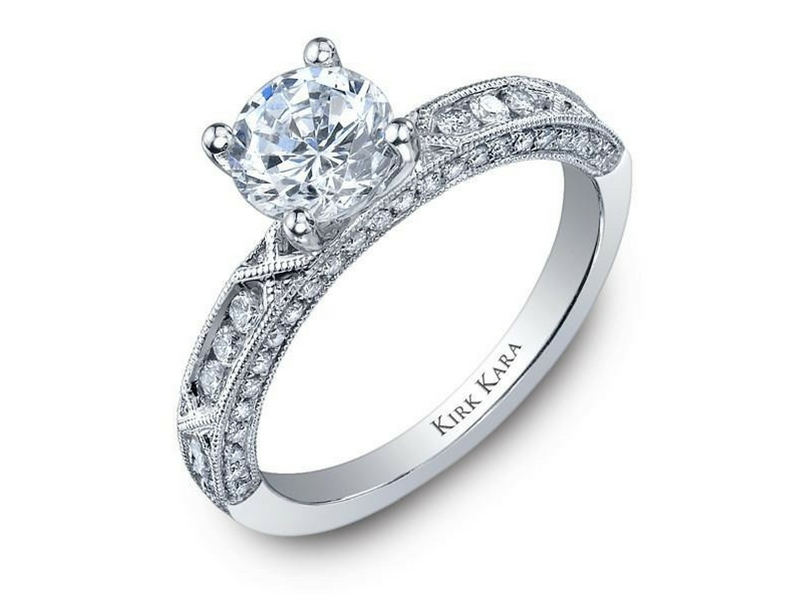 Kirk Kara Amelia Diamond Semi-Mounting .40ctw 18K White Gold by Kirk Kara