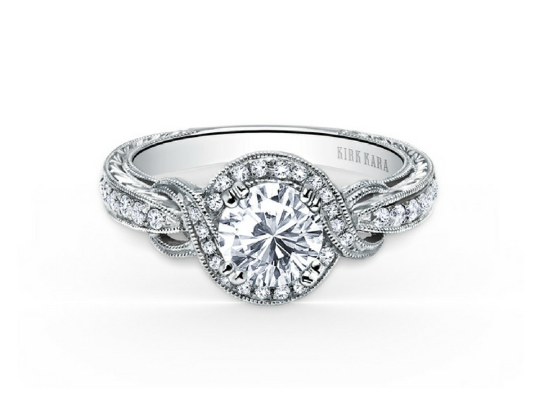 18k white gold twisted halo diamond engagement ring by Kirk Kara