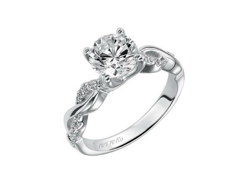 Frederic Sage Diamond Solitaire Engagement Ring .17ctw 14K White Gold by ArtCarved