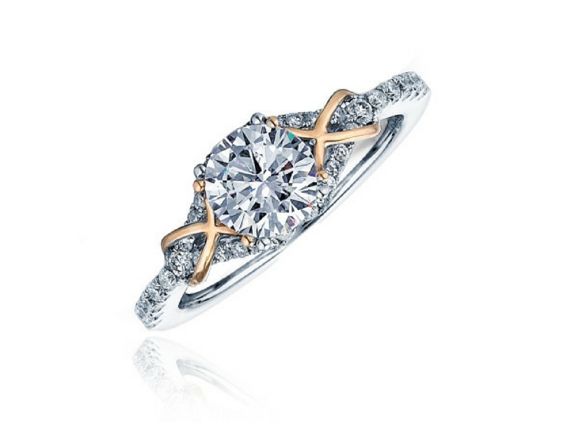 Frederic Sage Diamond Semi-Mount Engagement Ring .27ctw 14K Rose & White Gold by Frederic Sage