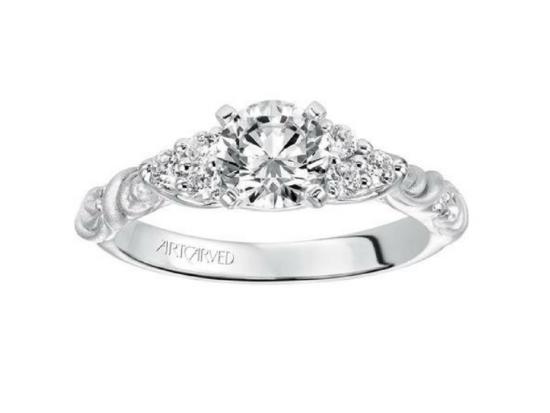 Frederic Sage Diamond Semi-Mount Engagement Ring .20ctw 14K White Gold by ArtCarved