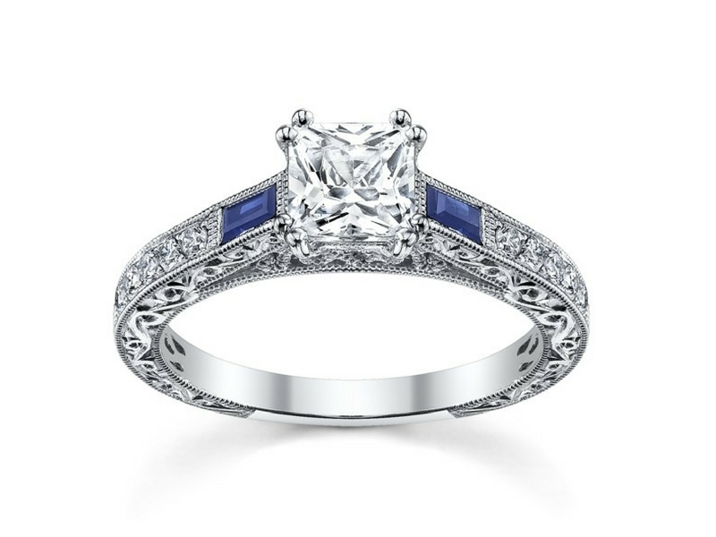 18k white gold baguette sapphire and round diamond semi-mt by Kirk Kara