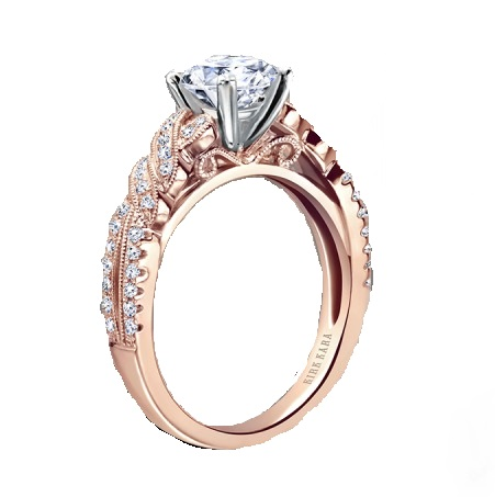 Semi-Mount elegant design is a split shank engagement ring by Kirk Kara