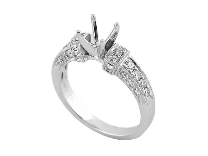 18K & Platinum Diamond Semi-Mount Engagement Ring by Jye