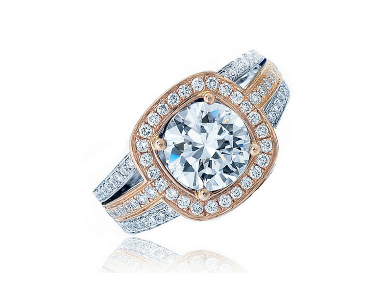 14K Rose & White Gold Halo Style Semi-Mount by Frederic Sage