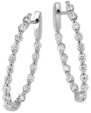 Diamond Inside & Out Hoop Earrings .87ctw 18K White Gold by Jye