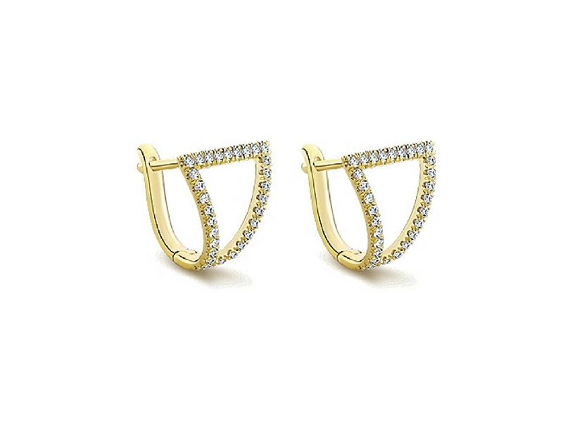 14K Gold Gabriel NY .32ctw Diamond Huggy Earrings by Gabriel & Co