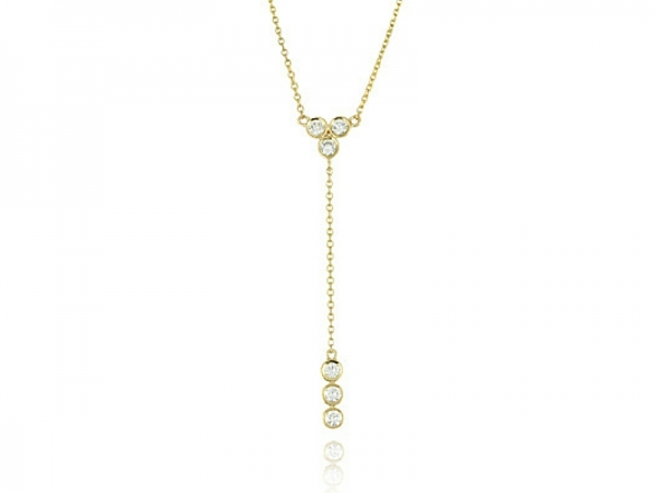 Bezel Set Diamond Necklace .35ctw 14K Yellow Gold by Dove