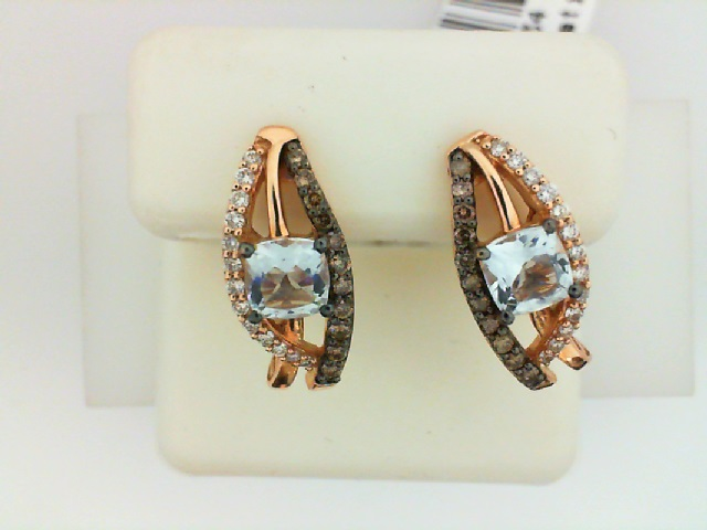 LeVian 14K Rose Gold Aquamarine, Chocolate & Vanilla Diamond Earrings by Le Vian