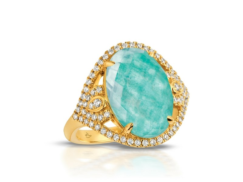 14K Amazonite/White Topaz Doublet & Diamond Ring by Dove