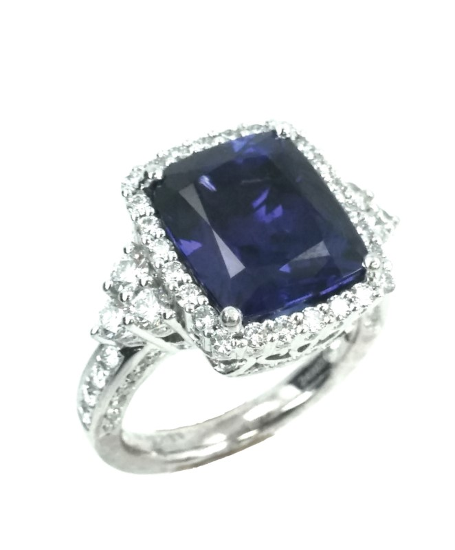 18K Gold & Platinum Tanzanite & Diamond Ring by Jye