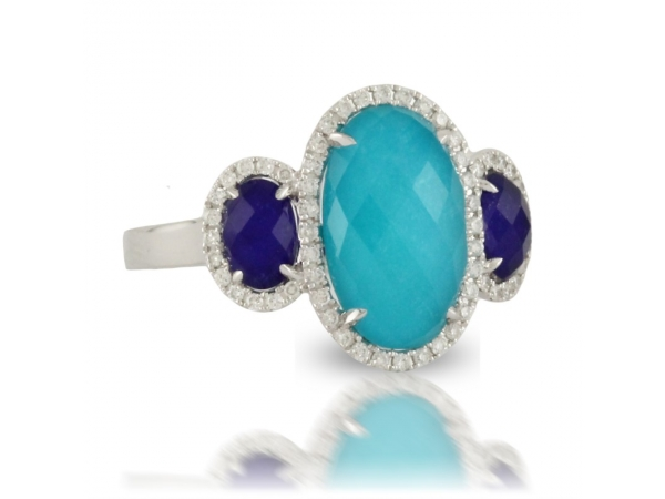 14K Gold Turquoise & Lapis Doublet Ring by Dove