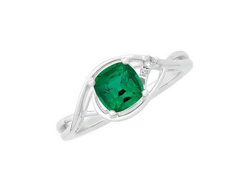 14K Gold Lab Created Emerald & Diamond Ring by Chatham