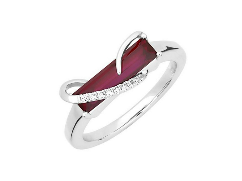 14K Lab Created Ruby & Diamond Ring by Chatham