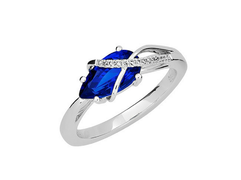 14K Gold Lab Created Blue Sapphire & Diamond Ring by Chatham