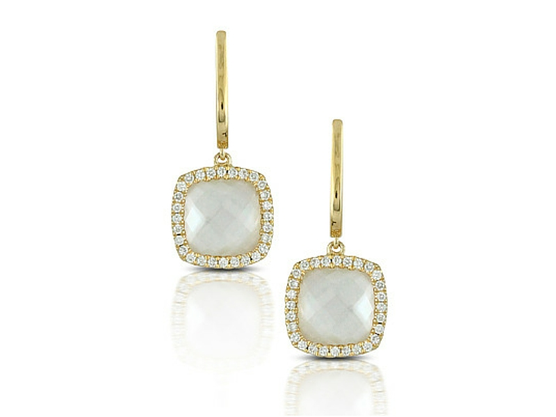 14K Mother of Pearl & Clear Quartz Doublet & Diamond Earrings by Dove