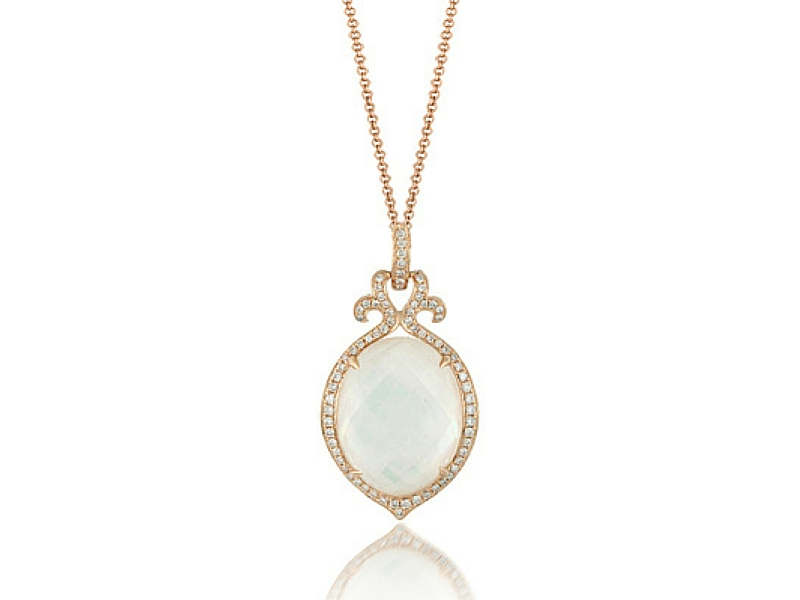 14K Mother of Pearl/White Topaz Doublet & Diamond Pendant by Dove