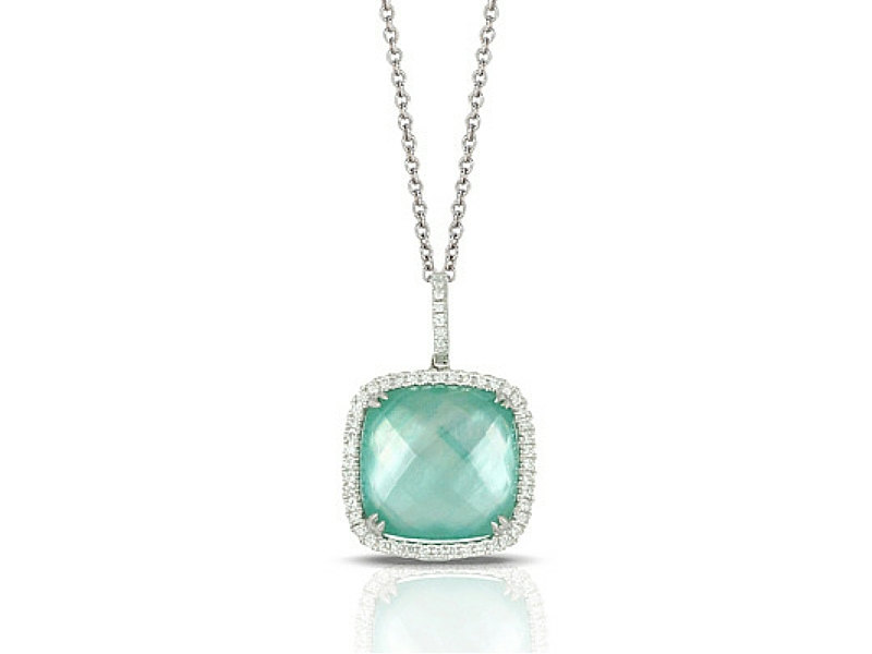 14K Green Amethyst Triplet & Diamond Halo Pendant by Dove