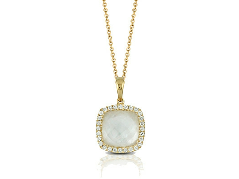 14K Mother of Pearl Doublet & Diamond Pendant by Dove