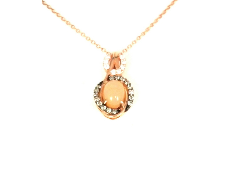 Levian Opal with Chocolate & White Diamond Pendant 14K Rose Gold by Le Vian