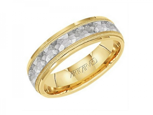 14k Two Tone Wedding Band by ArtCarved