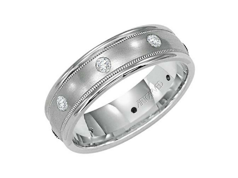 14k White Gold Diamond Band by ArtCarved