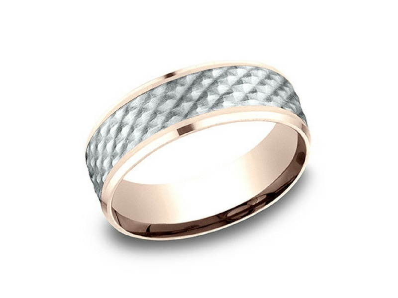 14k Rose & White Gold 7mm Wedding Band by Benchmark