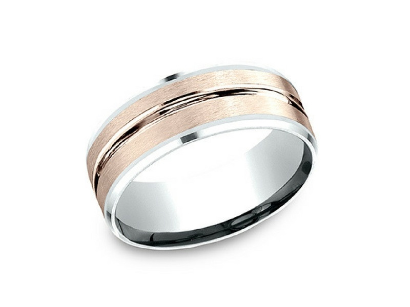 14k Rose & White Gold 8mm Wedding Band by Benchmark