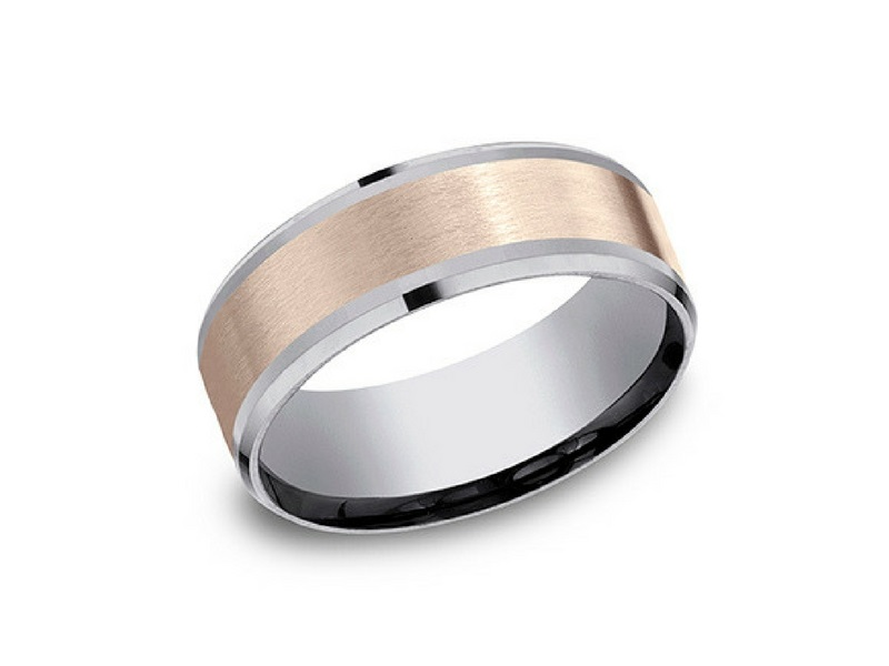 14kRose Gold & Tantalum 8mm Wedding Band by Benchmark