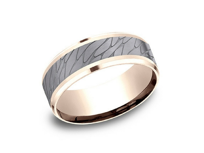 14k Rose Gold & Tantalum 8mm Wedding Band by Benchmark