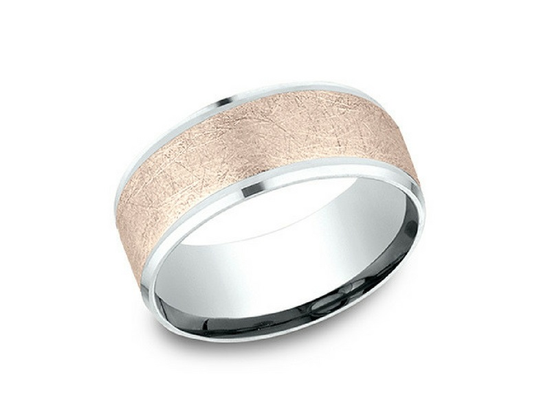 14K White & Rose Gold 8mm Wedding Band by Benchmark