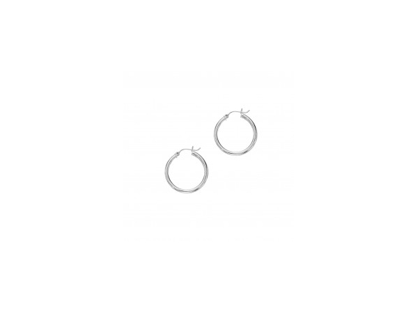 14K White Gold Hoop Earrings by Royal Chain