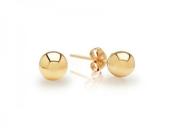 14K 5mm Ball Stud Earrings by Royal Chain
