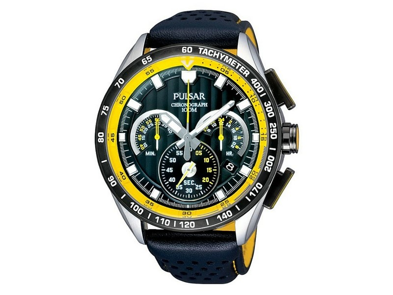 Black and gold leather band Pulsar Chronograph watch by Pulsar