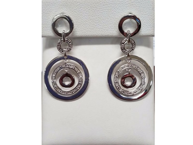 Sterling Silver & Diamond Dangle Earrings by Secure Hoop