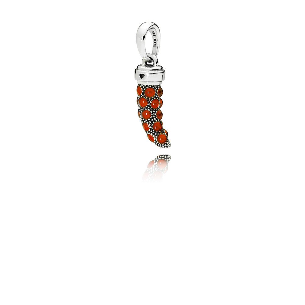 Red Italian Horn Necklace Pendant by Pandora