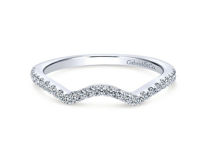 14k white gold pave set round diamond shadow band  s096694