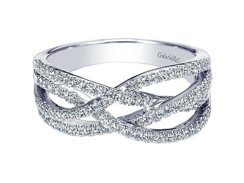 14K White Gold Diamond Innerwoven Band Ring.  The Total Carat Weight Of These Diamonds Is 0.41Ctw  s882142