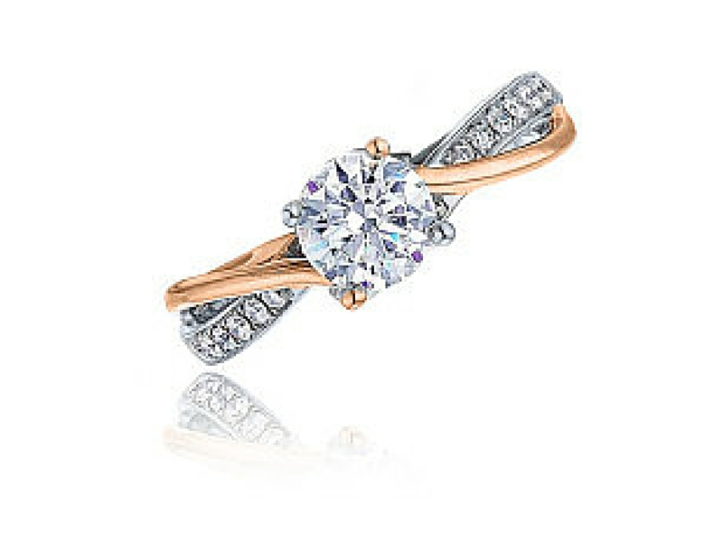 Frederic Sage Diamond Semi-Mount Engagement Ring .11ctw 14K Rose & White Gold by Frederic Sage